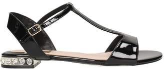 Julie Dee T-strap Black Patent Leather Sandals