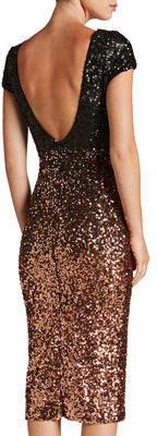 Dress the Population Marcella Cap-Sleeve Ombre-Sequin Midi Dress