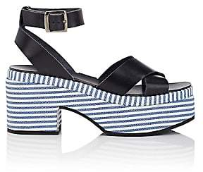 Barneys New York WOMEN'S STRIPED-PLATFORM LEATHER CRISSCROSS-STRAP SANDALS - NAVY SIZE 8