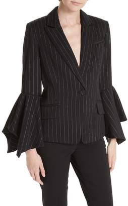 Milly Ruffle Sleeve Pinstripe Blazer