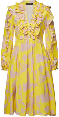 Sly 010 SLY010 Printed Silk Dress with Ruffles
