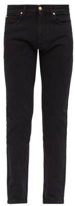 Versace Logo Patch Slim Leg Jeans - Mens - Black