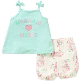 Rene Rofe Newborn Baby Girl Tank Top & Shorts, 2pc Outfit Set