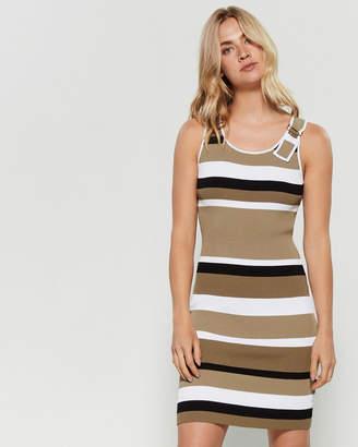 MICHAEL Michael Kors Striped Ribbed D-Ring Bodycon Dress