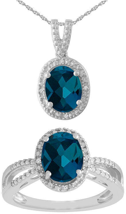 FINE JEWELRY Womens 2-pack Diamond Accent Blue Blue Topaz Sterling Silver Jewelry Set