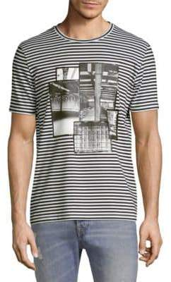 Diesel Black Gold DBG Stripe Photograph Graphic Tee