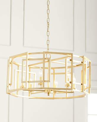 Gold Leaf Square-Motif Drum Chandelier