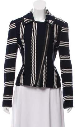 Veronica Beard Striped Moto Jacket