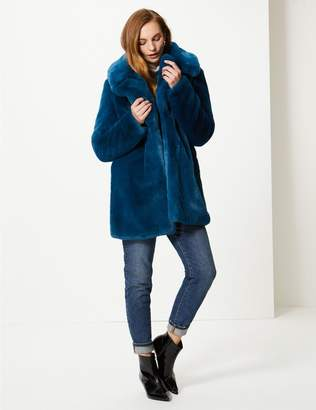 Marks and Spencer Single Breasted Faux Fur Jacket