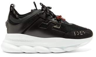 Versace - Chain Reaction Mesh And Leather Trainers - Mens - Black Burgundy