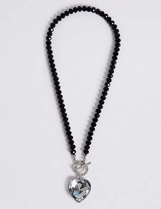 Marks and Spencer Diamanté Heart Pendant T-Bar Necklace