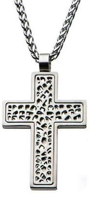 STEEL ART Men's Multi-Holes Stainless Steel Cross Pendant with Round Wheat Chain