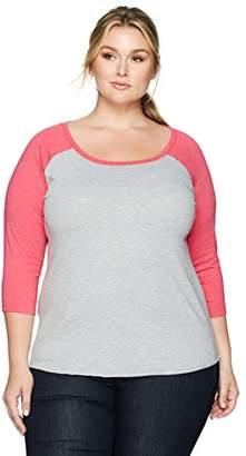 Clementine Apparel Women's Plus Size Long Sleeve Baseball Raglan Sleeve Scoop Neck T Shirts (3830)