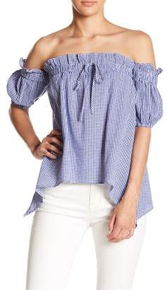 Lumiere Off-the-Shoulder Short Sleeve Gingham Print Blouse