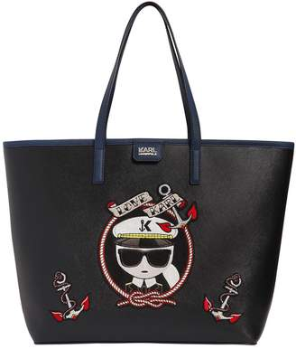 Karl Lagerfeld Captain Faux Leather Tote Bag