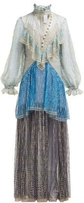 Peter Pilotto Ruffled Faux Pearl Fil Coupe Gown - Womens - Blue Multi