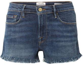 Frame Le Cutoff Frayed Denim Shorts - Dark denim