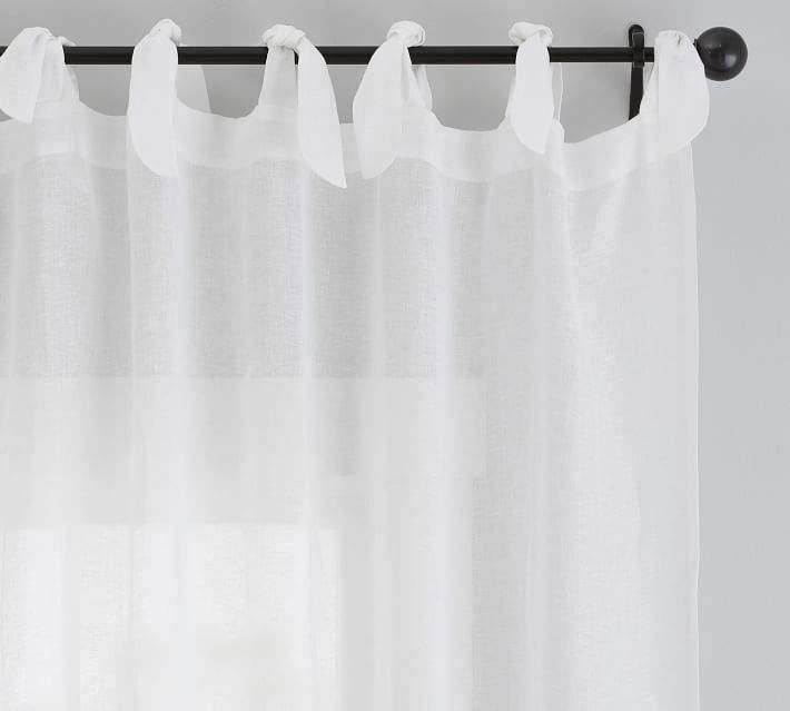 Belgian Flax Linen Sheer Tie-Top Drape - White