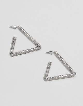 Steve Madden Silver Textured Triangle Earring