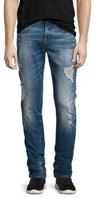 True Religion Rocco Distressed Skinny Jeans, Blue $229 thestylecure.com