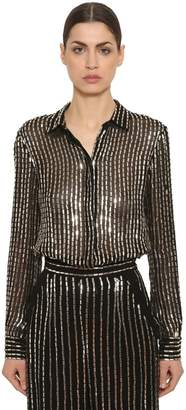 Temperley London Sequined Sheer Georgette Shirt