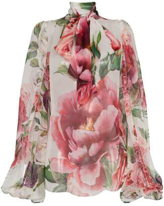 Dolce & Gabbana flower bow silk blouse
