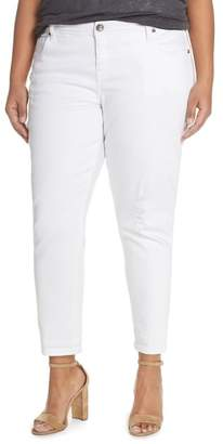 KUT from the Kloth 'Adele' Distressed Boyfriend Jeans (Optic White) (Plus Size)