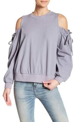 Lush Ruffle Cold Shoulder Linen Blend Sweatshirt