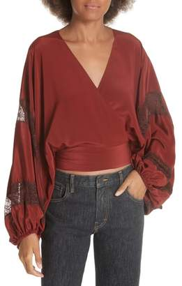Elizabeth and James Talia Puff Sleeve Silk Wrap Blouse