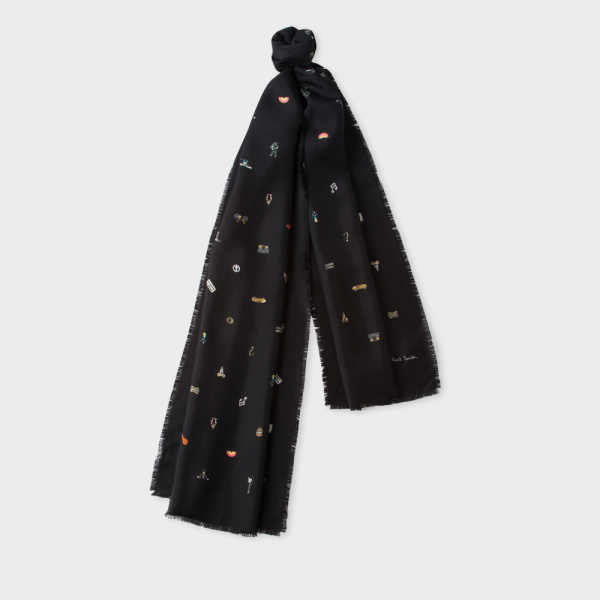 Paul SmithMen's Black 'Cufflink Charm' Print Silk Scarf