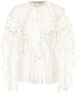 Philosophy di Lorenzo Serafini Ruffle-trimmed cotton-blend blouse