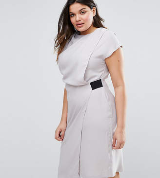 Asos Drape Front Pencil Dress with Elastic Detail