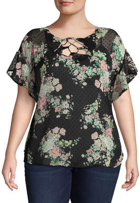 BELLE + SKY Short Sleeve Round Neck Woven Blouse - Plus