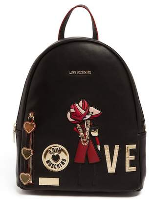 Love Moschino PU Leather Charm Accent Backpack