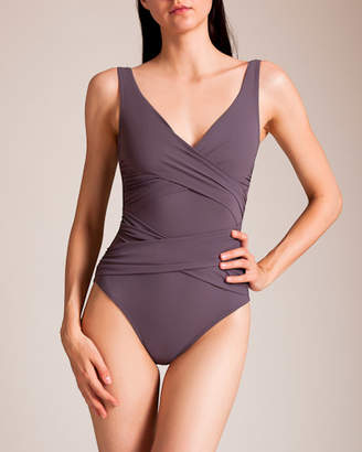 Karla Colletto Basic Surplice Neck Tank Swimsuit