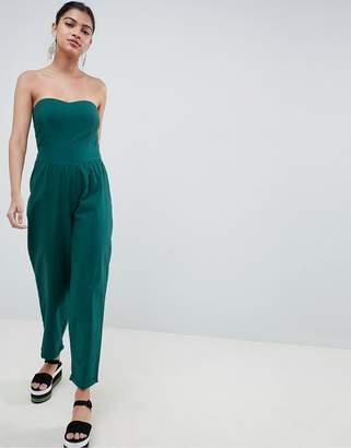 Asos Design DESIGN bandeau jumpsuit in cotton with waist detail