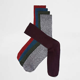 River Island Red twist rib socks multipack