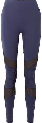 All Access - Debut Moto Mesh-paneled Stretch Leggings - Navy