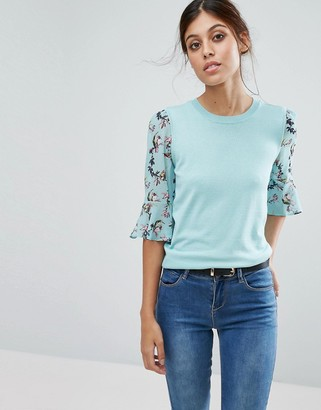 Oasis Floral Flute Sleeve Sweater $60 thestylecure.com