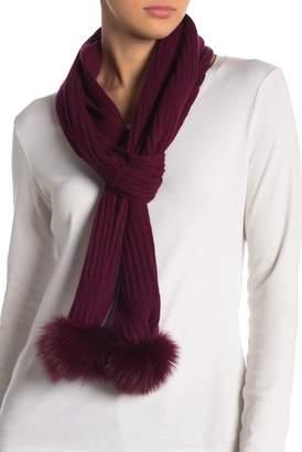 Sofia Cashmere Ribbed Cashmere & Genuine Fox Fur Pompom Scarf