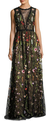 Jovani Sleeveless Embroidered Floral Lace Gown, Multicolor $690 thestylecure.com
