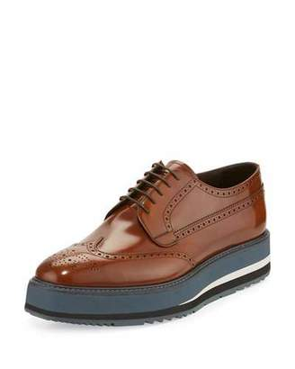 Prada Spazzolato Creeper Brogue Platform Shoe, Light Brown $1,290 thestylecure.com