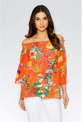 Quiz Orange And Yellow Floral Bardot Top