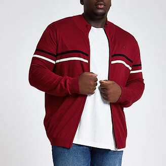 River Island Mens Big and Tall Red slim funnel neck zip jumper