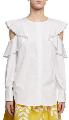 Oscar de la Renta Ruffled Cold-Shoulder Long-Sleeve Cotton Blouse