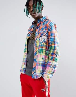 Billionaire Boys Club Multi Check Shirt With Sleeve Print