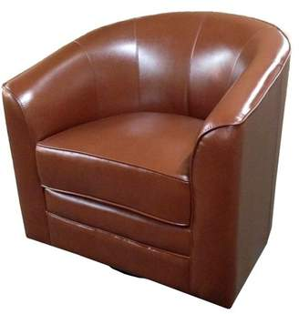 Emerald Home Milo Dark Brown Accent Chair with Faux Leather Upholstery, Welt Trim, And Curved Back