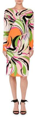 Emilio Pucci Marilyn Printed Long-Sleeve Boat-Neck Dress, Pink/Green $1,220 thestylecure.com