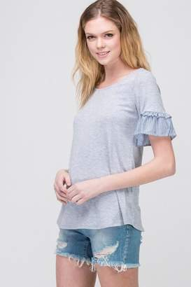 Les Amis Gray Ruffle-Sleeve Top