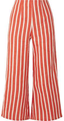 Faithfull The Brand Tomas Cropped Striped Linen Wide-leg Pants - Brick